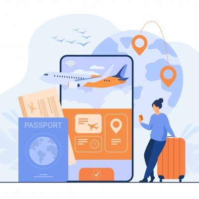 Online app for tourism. Traveler with mobile phone and passport booking or buying plane ticket. Flat illustration for vacation, digital technology, trip concept